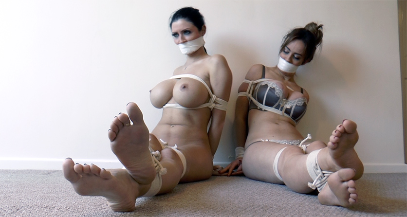 Brunette bound and stripped by couple